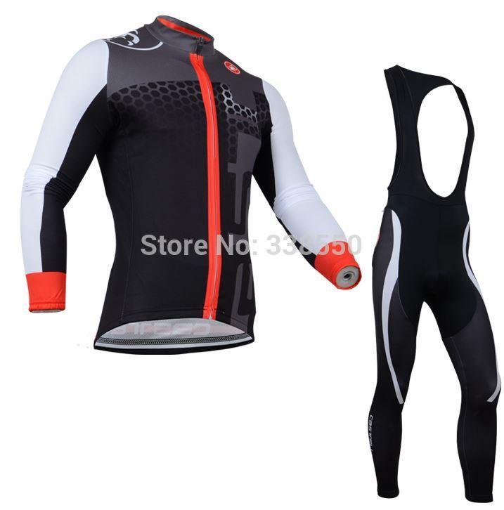 New 2014 cycling jersey full zipper / cycling clothing mens Long Sleeve set +Bib Pants Bike Clothes Breathable Quick Dry S-3XL(China (Mainland))