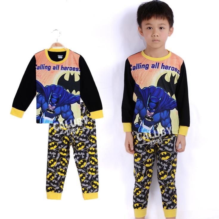 hot sale 2014 Batman kids pajama sets,long sleeve children clothing sets for boys,toddler baby sleepwear nightwear pyjamas(China (Mainland))