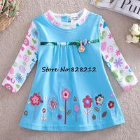 2014 New Autumn Fashion Girls cartoon T-shirt 100%Cotton Children Girl Long Sleeve Clothing 1pc Free shipping TYT-1426