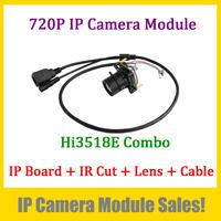 Popular 720P IP Camera Modules Combo (Hi3518C DSP 1Megapixel Main Board + CS IR Cut + 3Megapixel CS  4mm lens + Simple IP Cable)