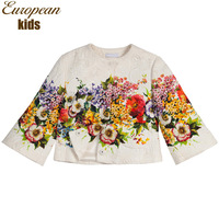 2014 fashion top quality girl coat digital floral print children jacket outerwear,european style girl's outerwear & coats 2-12Y