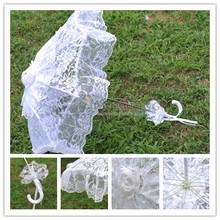 """2014 Nueva Moda Blanca 24 """" Accesorios Paraguas de lujo nupcial del cordón Parasol novia de la boda de hadas y elegante Envío Gratis(China (Mainland))"""