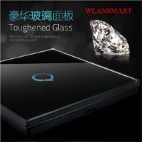 EU Standard,Wlansmart,Light Lamps Wall Switch,Touch Toughened glass+LED,1G1W,110V-240V,Luxury black Crystal Glass Switch Panel