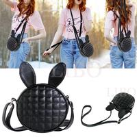 2015 fashion new women Rabbit Ear cartoon mini Bag Zipper Solid plaid Shoulder messenger Bag girl circle clutch tote handbag