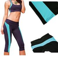 2014 FashionNew Style Fitness Women and Girls Legging  Yoga Pants Gym Leggings Running Sporting Pants dark purple blue ,blk wht