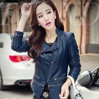 Fashion Women Slim Motorcycle Leather Jacket With Zipper Mandarin Collar Faux Leather Jacket Women Plus Size Women Clothing