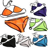 Sexy Women NEOPRENE BIKINI Halter Swimsuit Neoprene Triangle Tops Swimwear Bikini Set Beachwear Bathing Suit Brazilian Bikini