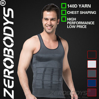 Fast Shipping ZEROBODYS Incredible Mens Body Shaper Firming Panels 140D Vest 107 GY Mens Corsets Slimming Underwear Mens Shapers