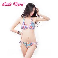 [little dara] free shipping 2014 New Fashion Sexy women  strappy paisley print bikini set swimwer with beads