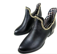 New arrival 2014 fashion vintage boots rivet chain british style small leather thick heels shoesF68