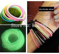 New 10-30pcs/lot Luminous Fluorescent Silicone Bracelet Rubber Bands Women Girls Elastic Hair Band Wristband Free Shipping A0083