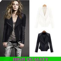 New 2014 Fashion Autumn&Winter Women Jackets Pu Leather Patchwork Full Sleeve Women Clothes Zipper Slim Jacket 2 Color Plus Size