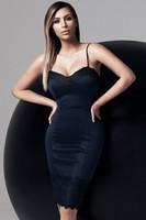 Elegant Lace Trims Cami Knee Length Bodycon Spaghetti Strap Sweetheart Neckline Women Party midi Dresses Free Shipping 21467