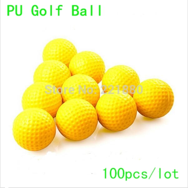 Hot Selling 100pcs/lot Durable Sponge Golf Balls PU Foam Elasticity Training Golf Ball Yellow Free Shipping(China (Mainland))