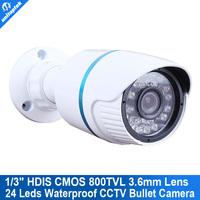 """Mini 1/3"""" HDIS 800TVL CCTV Bullet camera cmos board HD8050 238 waterproof 24IR 3.6mm OSD Menu security"""