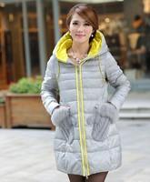 Winter medium-long down coat fox fur Collar gloves pocket  down jacket ladies winter warm overcoat thick Free shipping  YWZ001
