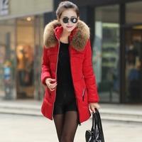 WInter Women Coat Thicken Down Jacket Coat 2014 New arrival Plus Size S-4XL Large Fur Collar Medium Long Outerwear Down Coat