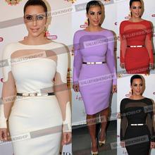 New 2014 Celebrity Women Summer Dress Fashion Mesh Long Sleeve Sexy Party Evening Elegant Bodycon Bandage Women's Wear S/XXL 931(China (Mainland))