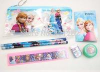 Wholesale! 20 set !Frozen princess doll pattern stationery set/school supplies/pencil case/ruler/sticker/eraser/kid gift