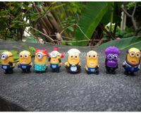 1 set 8PCS/Set Despicable Me 2 Minions purple minions Figure doll Toys Retail With Box