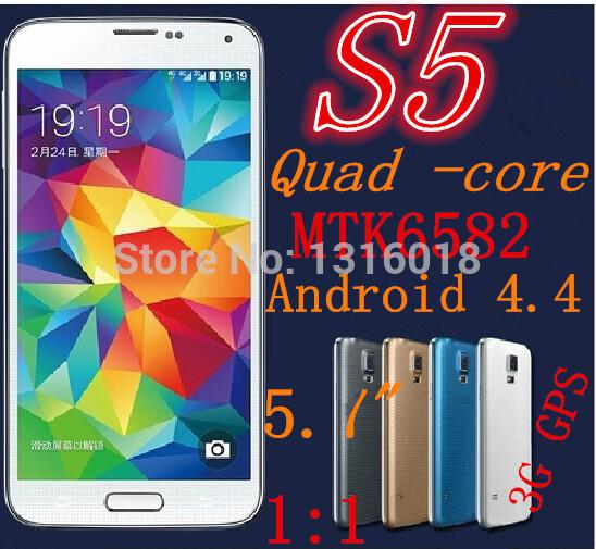 Caldo 1:1 i9600 s5 telefono cellulare 5,1 pollici mtk6582 quad core android 4.4 2gb ram 3g gps IPS 13mp g900 telefoni cellulari