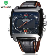 Nueva militar del ejército WEIDE correa de cuero japón cuarzo Dual Time analógico LED Dual Time Alarm fecha día para hombre deportivo reloj de pulsera Digital
