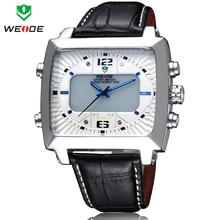 Nuevo clásico WEIDE hombres moda Casual LED alarma de la fecha cuarzo reloj deportivo de lujo a estrenar del cuero genuino de negocios vestido reloj de pulsera