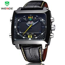 New Classical WEIDE Men Fashion Casual LED Alarm Date Quartz Sports Watch Luxury Brand Genuine Leather