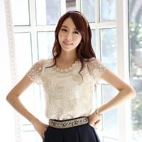 fashion women short sleeve white lace feminine blouse blusas de rendas branca blous camisa roupas femininas female shirt clothes