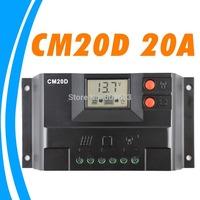 20A Solar Charge Controller 12V 24V solar panel controller LCD display GEL Battery type option FLOODED SEALED lighting LED CM20D