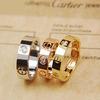 Titanium Steel CZ Diamond carter brand Rings Perfect Jewelry Classic Love Screw Rings Silver Gold Rose