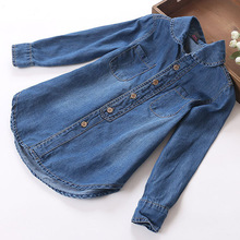 100% High Quality Cotton spring/autumn very soft thin kid denim shirt girls blouse child clothes for 90-148cm teenage(China (Mainland))