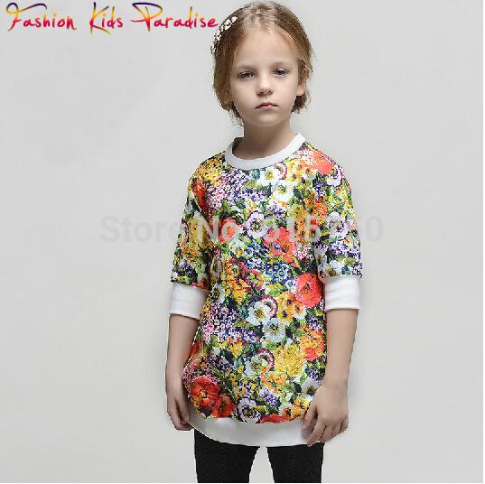 Top Quality 2014 new babi girl print dress brand children princess dress, designer kids party dress, girls floral dresses,2-12Y(China (Mainland))