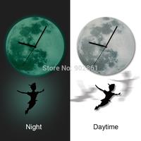 Funlife Exclusive Peter Pan Cartoon Nursery Moonlight Wall Pendulum Clock Luminous Glow in the Dark for Children Room wcBD0010