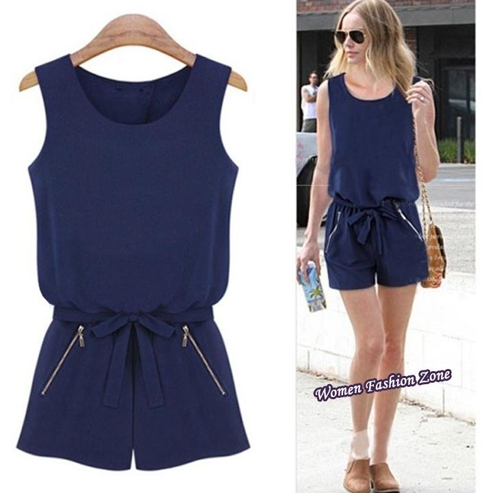 2014 Fashion Summer Women Top Loose Casual Chiffon Elastic Waist Short Jumpsuit Romper overalls bodysuit Coveralls Shorts 04450(China (Mainland))