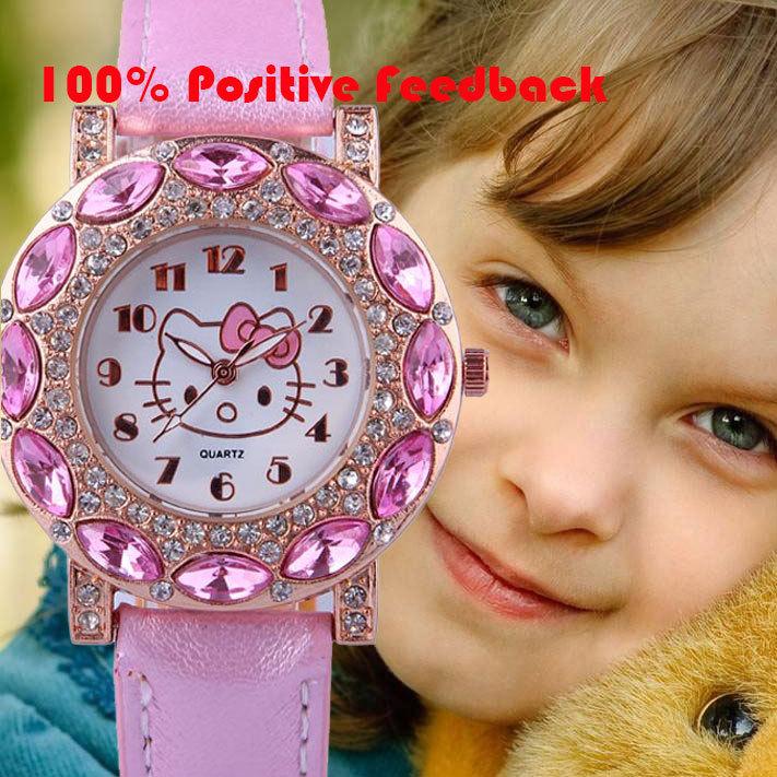 Hello Kitty Famous Brand Women Watches Quartz Cartoon Big Diamond Clock 2014 New Fashion Style Wristwatches Free Shipping(China (Mainland))