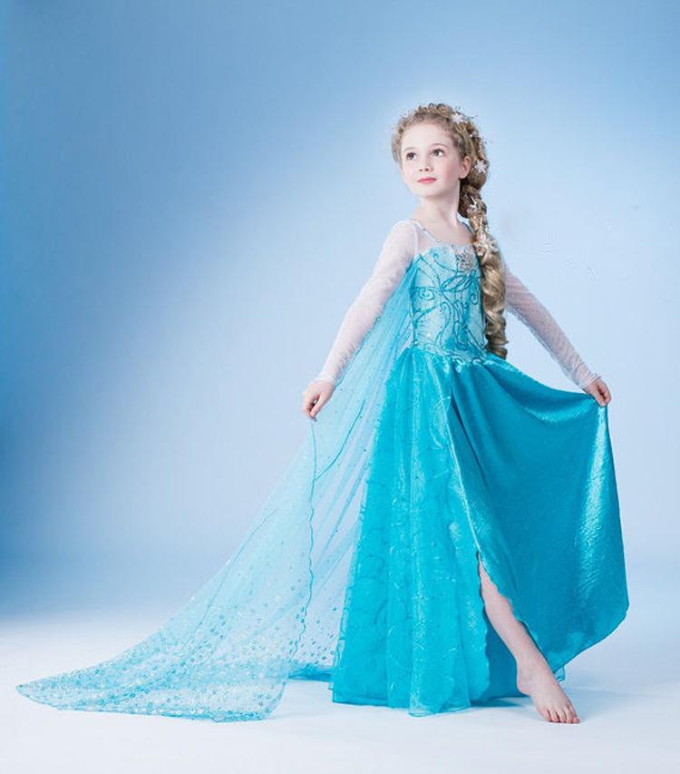Tropfenverschiffen, neuen 2014 gefroren elsa kleid mädchen prinzessin kleid sommer gefroren langen kleid elsa kostüm, Baby& kinder sommerkleider