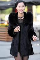 New 2014 Winter Women Rabbit Fur Coat Fox Fur Collar Medium-long Hooded Thicken Plus Size M--XXL Overcoat Casual Outerwear RR951