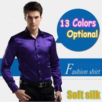 Free Shipping 100% Silk Mens Casual Shirts Long-sleeve Slim Shirt  Man Soft Shirts 12 Colors Optional S M L XL XXL XXXL