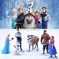 Promotion!!! 6pcs/Set Movie Figures Toys Cake Topper Deco Toy Frozen Dolls Anna, Elsa, Kristoff, Olaf Toy Set Kits #6 SV005707