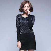 2014 autumn winter women's striped elastic sweater primer shirt sweater dress female long-sleeved clothing