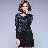 2014 autumn winter women's striped elastic sweater primer shirt sweater dress female long-sleeved clothing