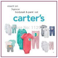 free shipping baby Carters boys cartoon clothing set fashion baby 2pcs bodysuit + pant 3pcs suit infant garment retail