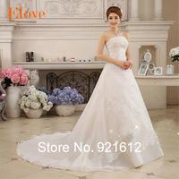 2015 Fashionable Sexy Renda Gown Curto Casamento Bride Festa Longo Romantic Vestido De Noiva Robe Mariage Wedding Dress WDE02