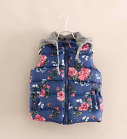 Free Shipping Autumn Winter Girls Sleeveless Cotton Vest Jackets Children's Clothing Hooded Vest Flower Rose Soft Warm Wholesale