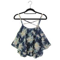2014 Fashion Women Summer Top Sleeveless Spaghetti Strap Flower Flora Chiffon Top Blouse Free Shipping