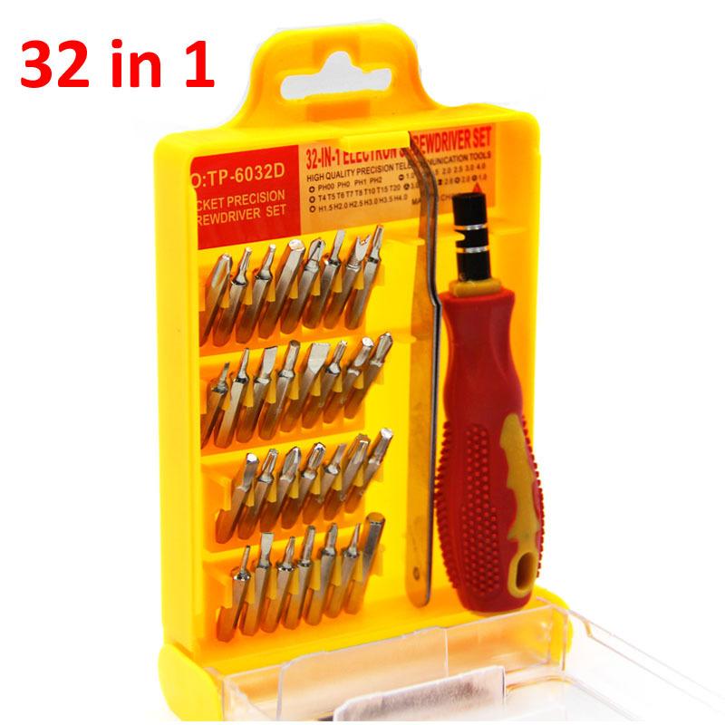 32 in 1 set Micro Pocket Precision Screwdriver Kit Magnetic Screwdriver cell phone tool repair box Hardware Repair MicroDat