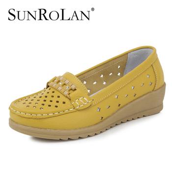 2015 cut out женщины обувь из натуральной кожи швейные квартир мать все матч комфортно ...