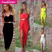 Hot Sale S-3XL Black White Red Yellow Pleated Dress New Sleeveless Sexy Maxi Dress Open Leg Long Casual Dress