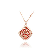 Genuine Austrian crystals Square  red stone necklace 14K Gold Plated Pendant 100% hand made  JewelryROXN120